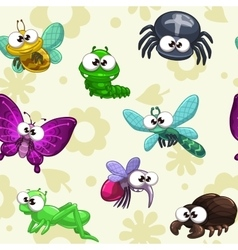 Seamless pattern with funny cartoon insects vector