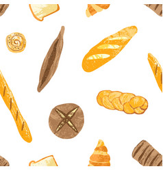 seamless pattern with tasty breads dessert pastry vector image