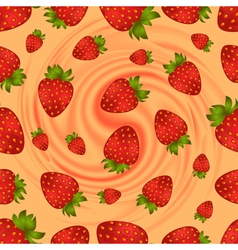 Seamless strawberry pattern with swirl background vector image