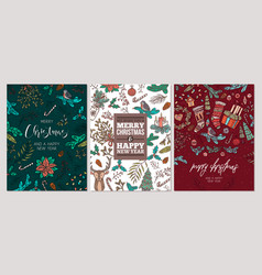 set christmas holiday greeting cards or posters vector image