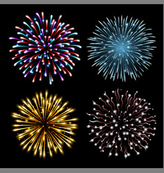 Set colorful fireworks vector