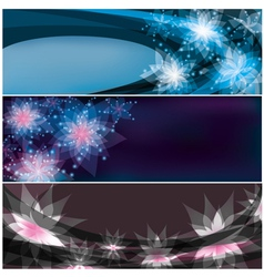 Set of bright horizontal floral banners vector image