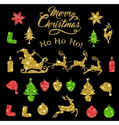 Set of golden glitter christmas design elements vector