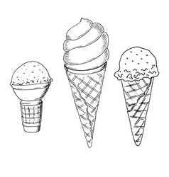 Set of hand drawn sketch style ice cream ice vector