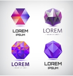 Set of purple crystal faceted logos vector