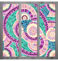 Set of three abstract ethnic doodle cards vector image