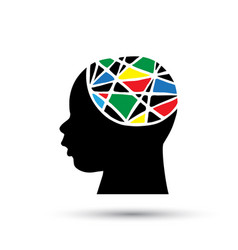 silhouette child head with abstract brain vector image