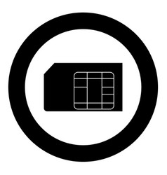 sim card icon black color in circle or round vector image