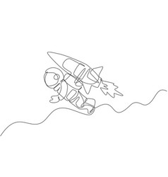 Single continuous line drawing astronaut vector
