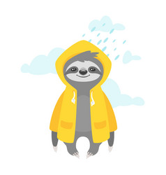 sloth character in yellow raincoat vector image