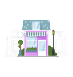 small local store building and adjacent street vector image