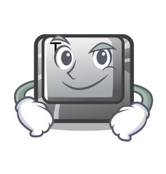 Smirking t button installed on character computer vector