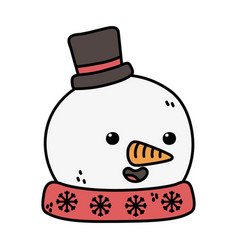 snowman with black hat and carrot nose decoration vector image