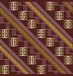 striped 3d greek key meander seamless pattern vector image