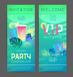 Summer disco cocktail party poster with tropic vector