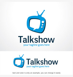 Talk show logo template design emblem design vector