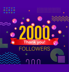 thank you 2000 followers numbers congratulating vector image