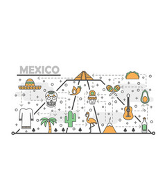 thin line art mexico poster banner template vector image