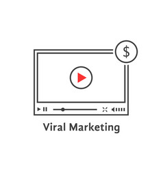 Thin line video player like viral marketing vector