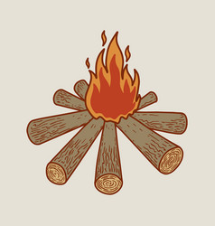 tourist campfire design element for poster card vector image