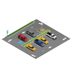 Transport parking isometric composition vector