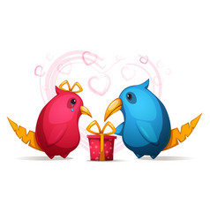 two cartoon funny cute bird with a large beak vector image