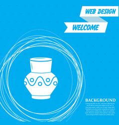 vase amphora icon on a blue background with vector image