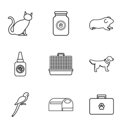 Veterinary icons set outline style vector image vector image