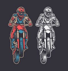 Vintage retro motocross front view color and vector