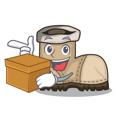 With box working boot in shape cartoon beautiful vector