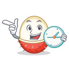 With clock rambutan character cartoon style vector