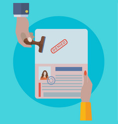 womans passport travel visa denied vector image