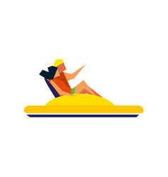 young couple on water bicycle icon vector image