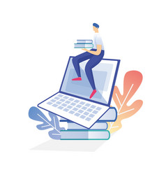 young man sitting on top huge laptop student vector image