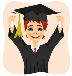Young student boy holding two diplomas vector