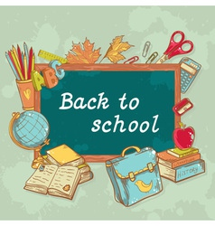 Back to school board card with various study items vector image vector image