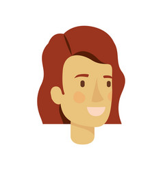 colorful silhouette of woman face with short brown vector image vector image