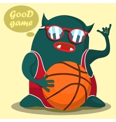 cool basketball monster graphic vector image