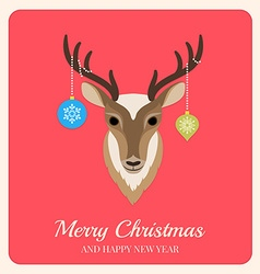 Deer with christmas balls on red background vector