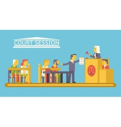Law Court Justice Scene with Characters Defendant vector image vector image