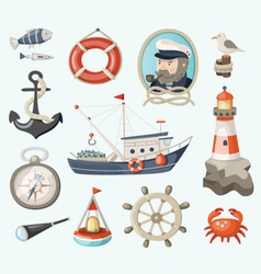 Set of fishing items vector image vector image