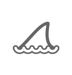 shark fin outline icon summer vacation vector image vector image