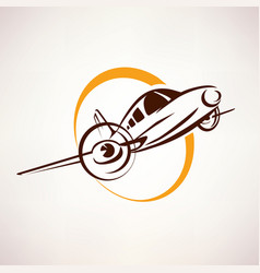 airplane symbol light aircraft stylized icon vector image vector image
