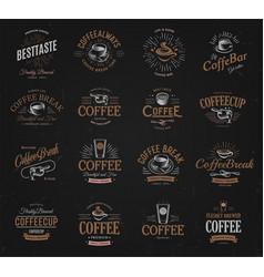 Coffee vintage logos set freshly brewed caffeine vector