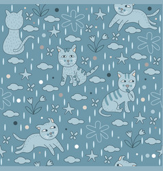 seamless pattern blue cats wallpaper background vector image vector image