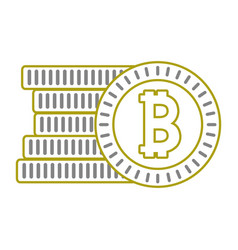 yellow line finance bitcoin electronic and digital vector image vector image