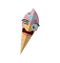 cartoon ice cream birthday wink vector image