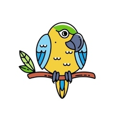 Cute colorful parrot isolated on white vector image vector image