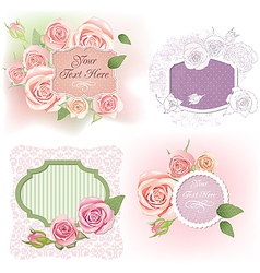 Greeting frames with roses vector image vector image