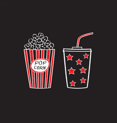popcorn and drink isolated vector image vector image